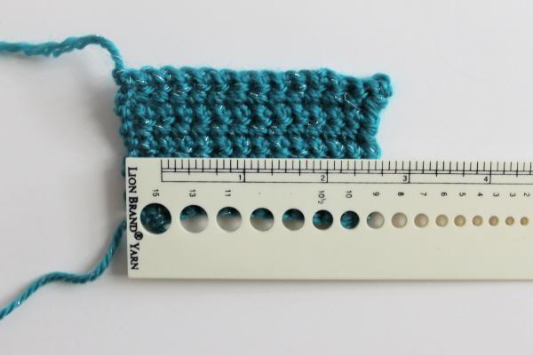 Measuring gauge on a single crochet swatch