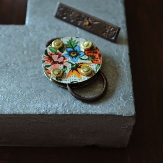 Handmade tin and brass toggle clasp from Lorelei Eurto