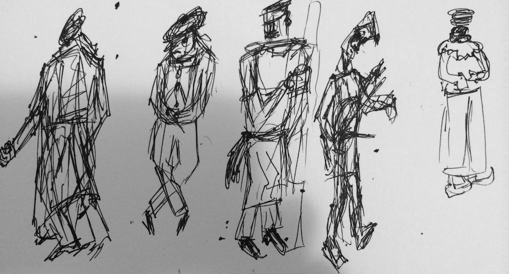 Lanky man concept sketches
