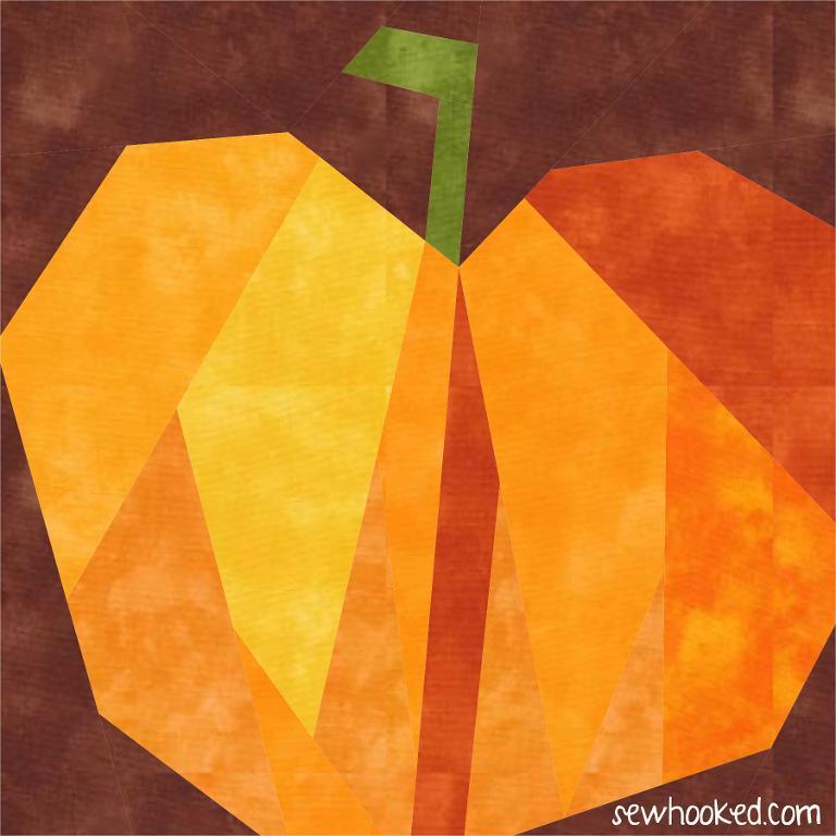 Paper Pieced Pumpkin block pattern