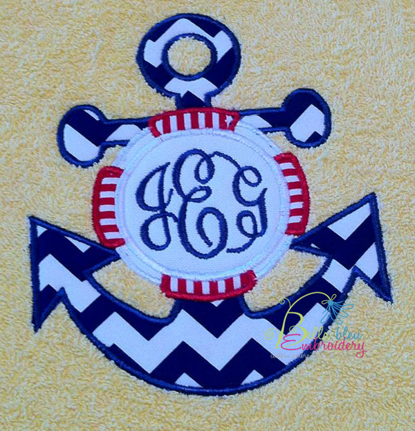 Nautical anchor lifesaver monogram