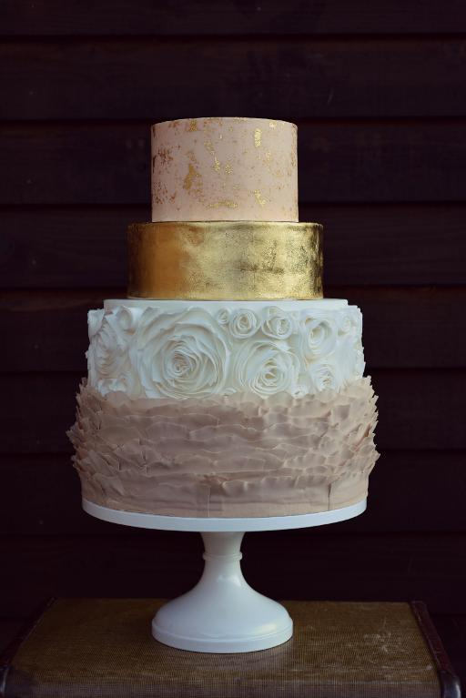 Gold leaf and rosette cake