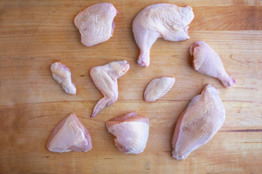 Different parts of a chicken