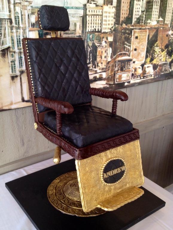 Vintage barber chair cake by Bluprint member Vagabond Baker