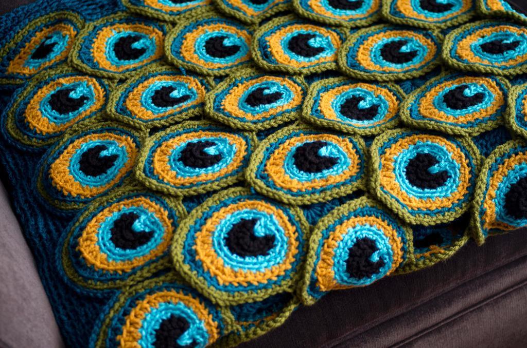 Peacock Pretty crochet blanket