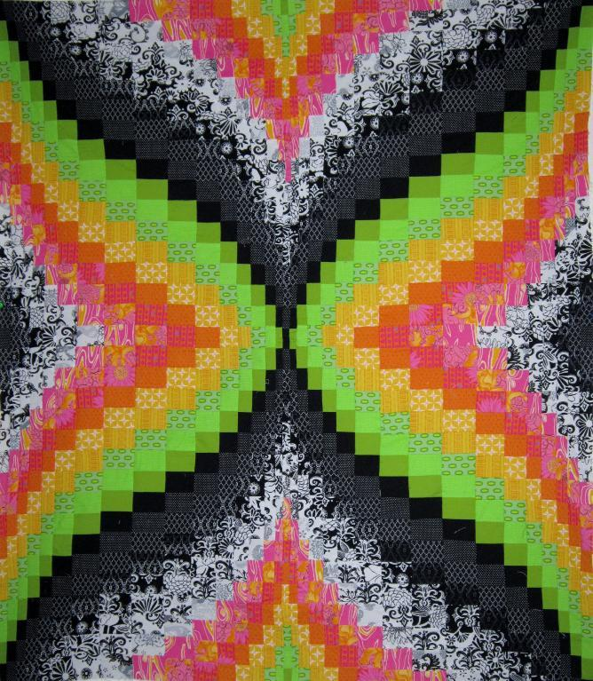 Bright Bargello Quilt with Black and White