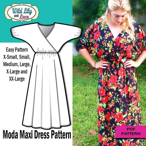 Dolman Sleeve Maxi dress sewing pattern