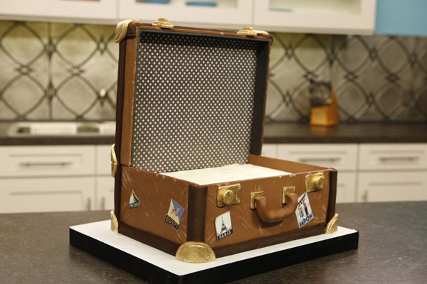 Vintage luggage cake by Craftsy instructor Lauren Kitchens