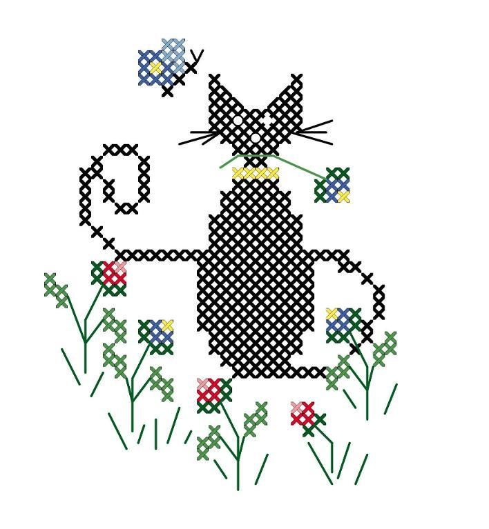 Summer Cat FREE Embroidery Pattern