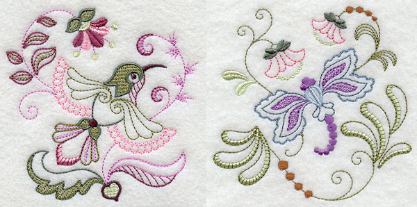 Jacobean hummingbird machine embroidery designs for crayon coloring