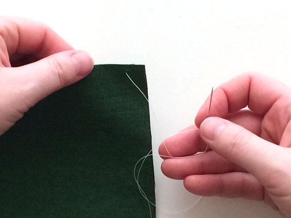 overcast stitch step 1