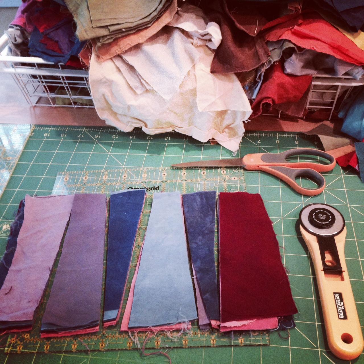 Cutting angled stripes