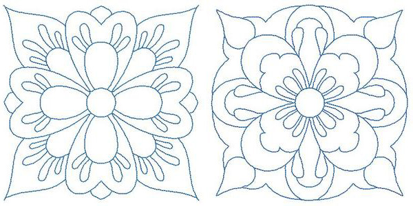 Machine embroidery quilt outlines for crayon coloring