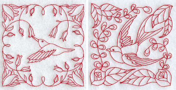Redwork birds machine embroidery for crayon coloring