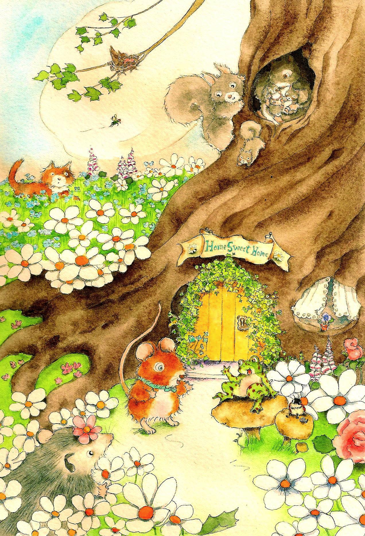 Animals around a tree