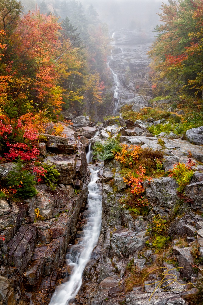 Silver Cascade In The Autumn Mist