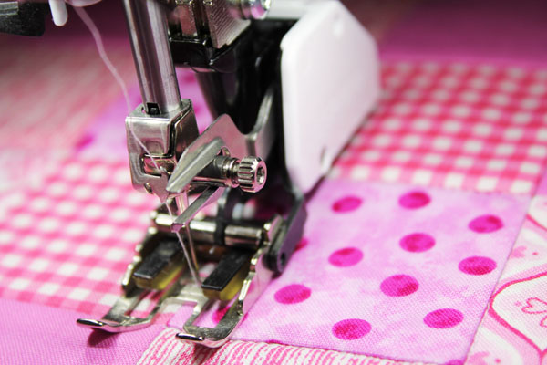 Simple stitch in the ditch quilting with a walking foot