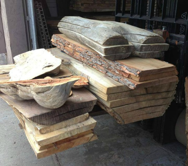 Thick slabs of wood