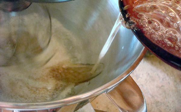 Syrup into nougat mixture