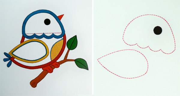 Original file via Designs by JuJu (left) and the isolated placement stitches (right).