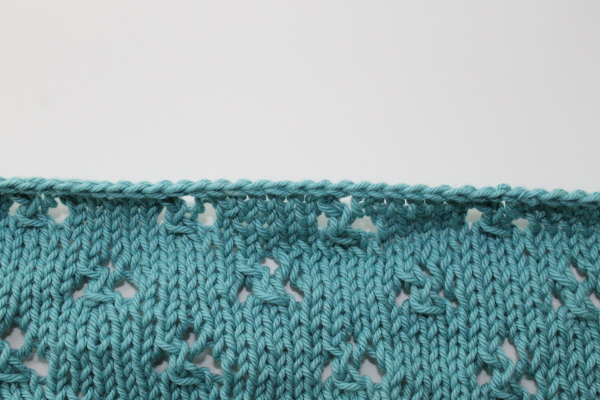 top edge for picking up knitting stitches