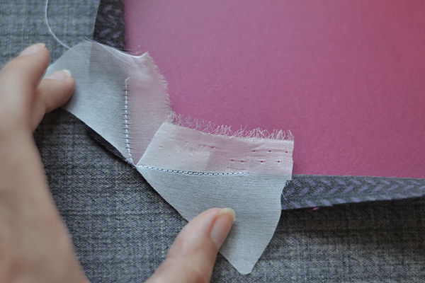 right-angle seam: press organza to inside