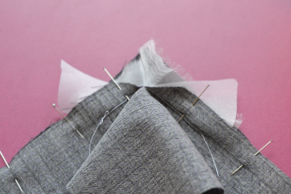 right-angle seam: pin sides with organzo in -between