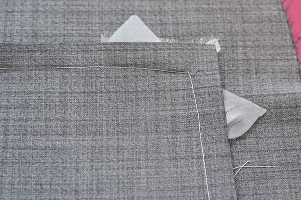right-angle seam: wrong side with organza