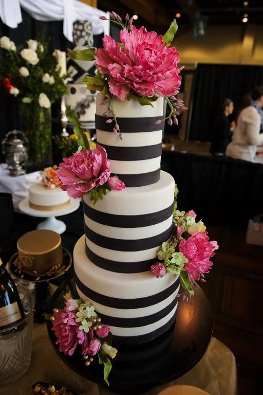 Black & White Striped Wedding Cake