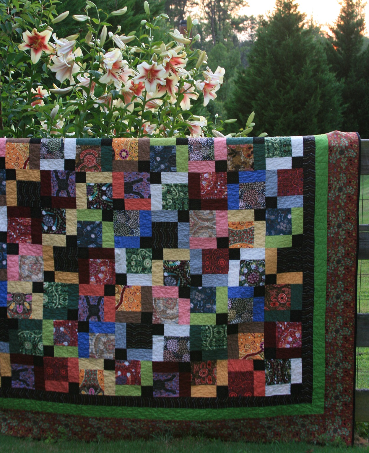 Disappearing Nine Patch Quilt with borders