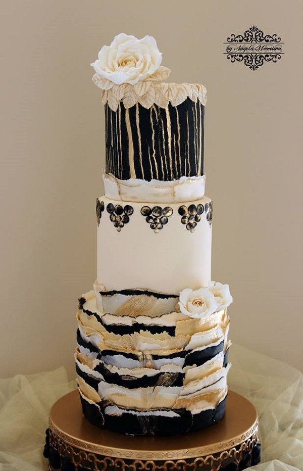 Black, White and Gold Wafer Paper Cake