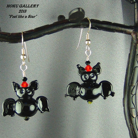 Handmade bat earring by Diane Gerbert-Ballum