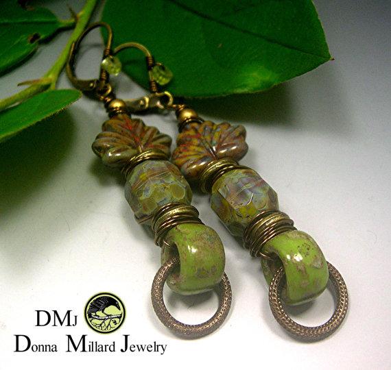 Green Leafy earrings by Donna Millard