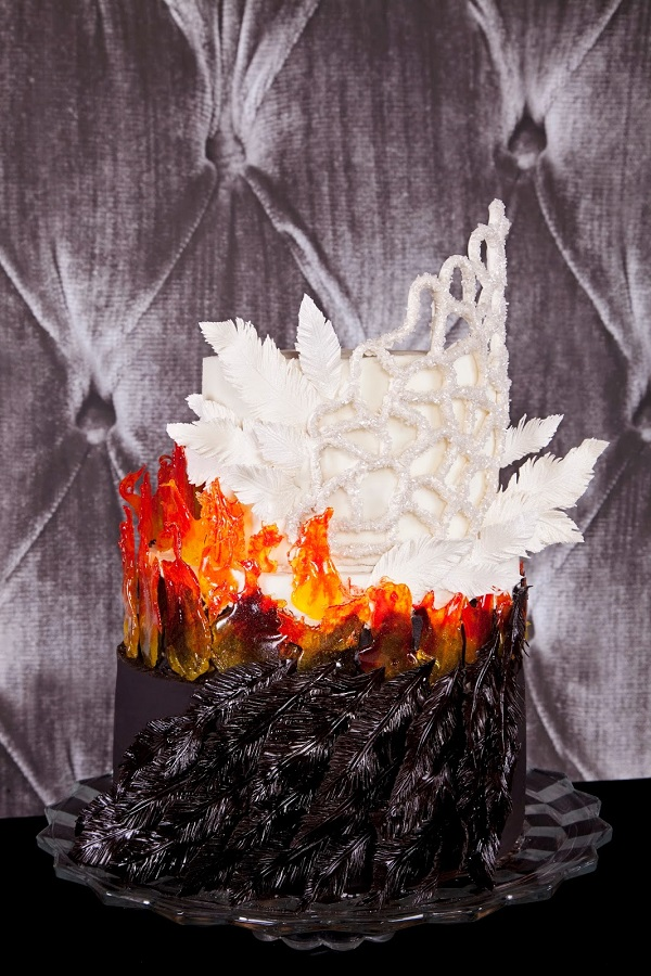 Hunger Games Katniss wedding dress cake