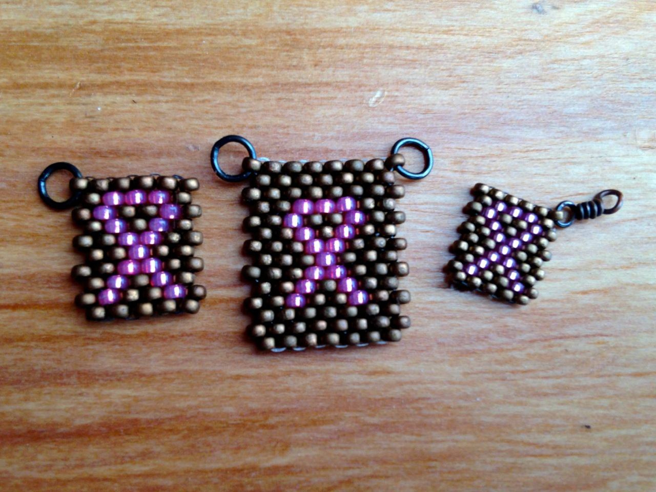 Breast Cancer Awareness peyote stitch charm and tags