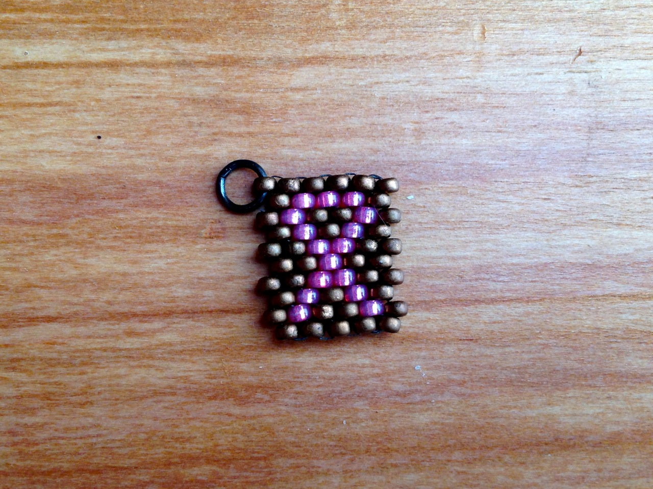 Breast Cancer Awareness peyote stitch tag