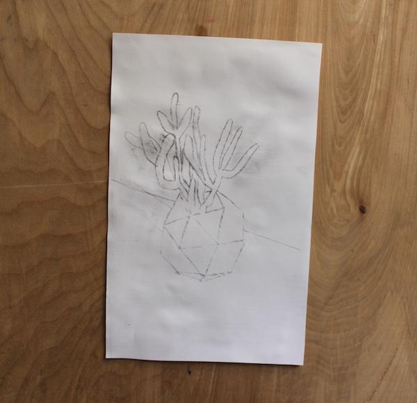 transferred pencil sketch