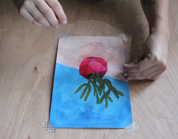 placing acetate over acrylic painting
