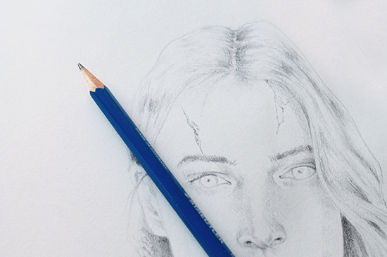 zombify pencil portrait with cuts