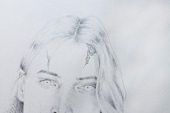 zombify pencil portrait close up