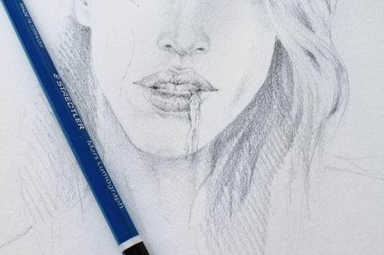 zombify pencil portrait eating flesh