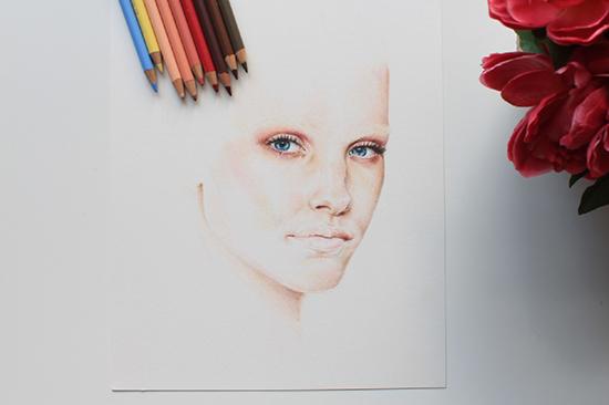 Painting a colored pencil portrait step