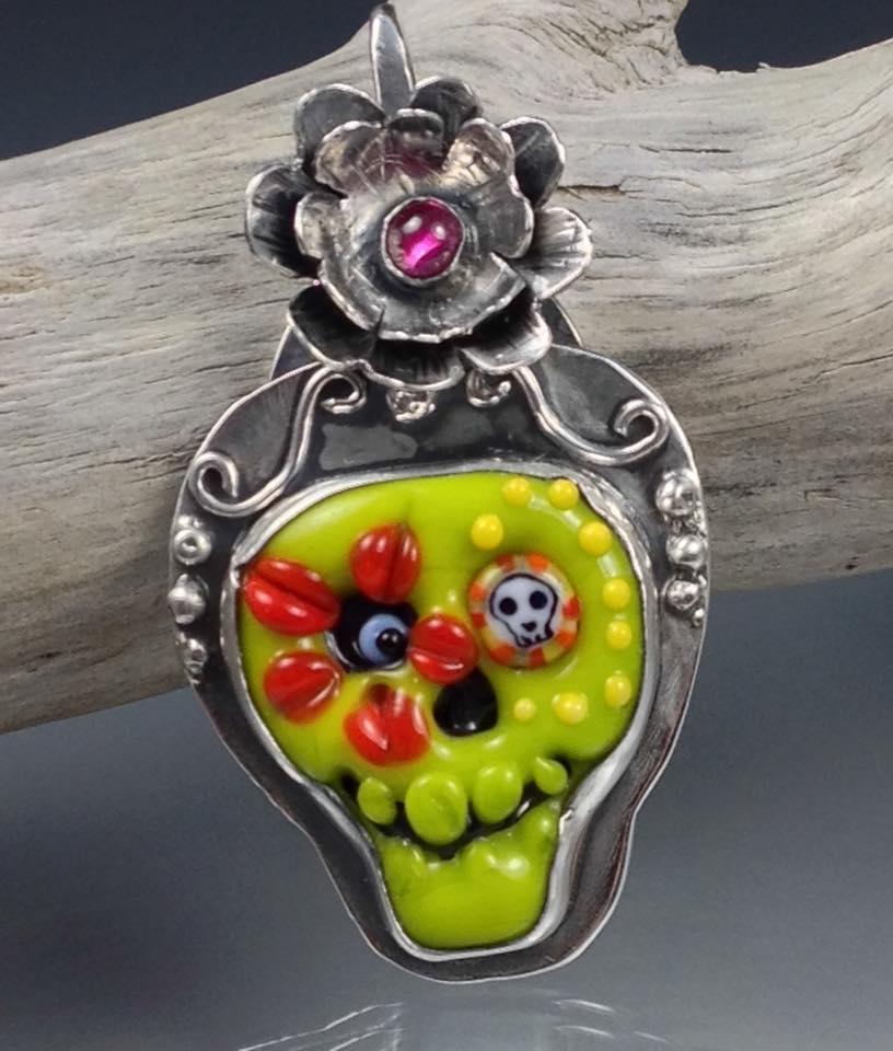 Handmade sugar skull pendant by Kristi Brokaw