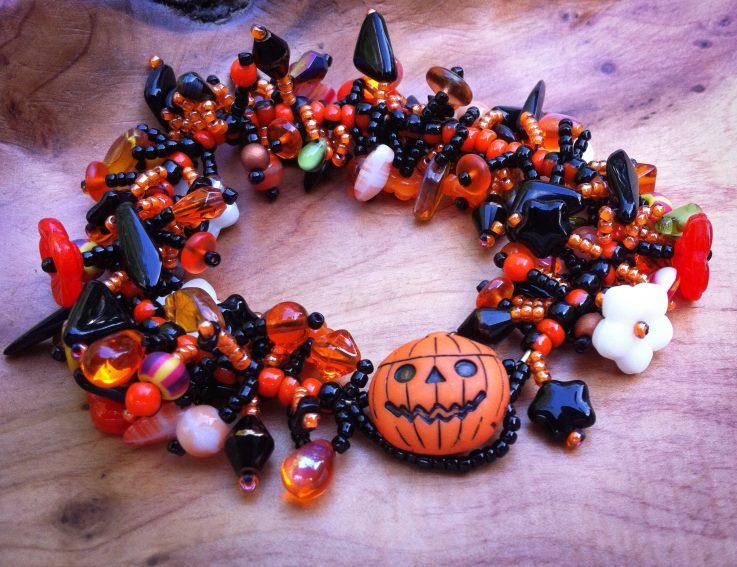 Handmade Halloween themed bracelet by Linda Younkman