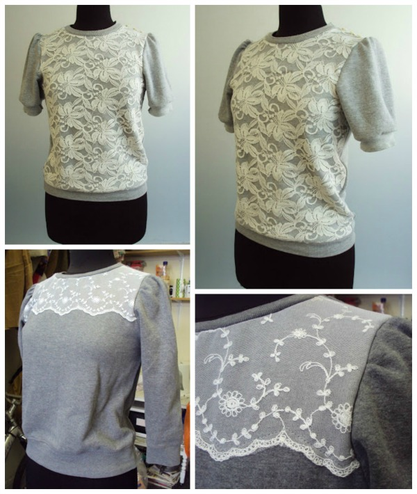Sweatshirts with lace inserts