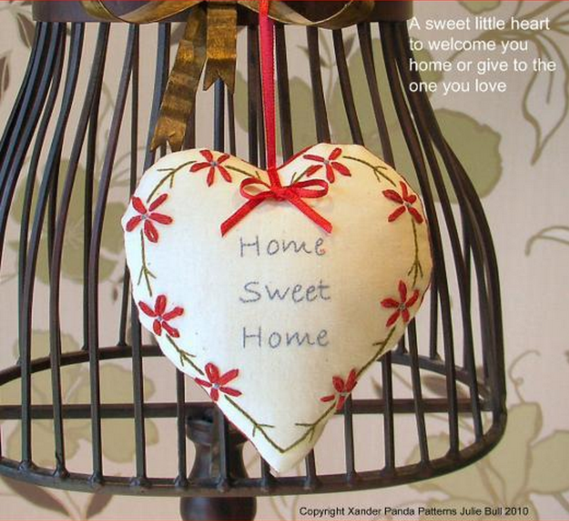 Home Sweet Home Embroidered Heart