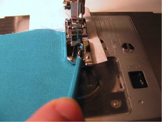 Sewing a rolled hem with a presser foot