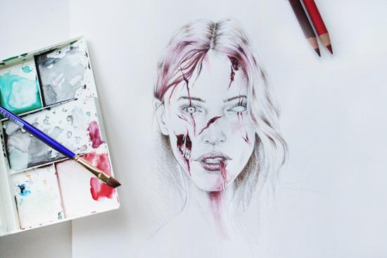 zombify pencil portrait