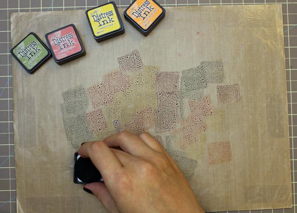 Pressing Ink onto Craft Sheet