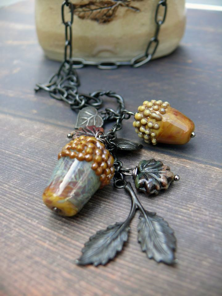 Acorn necklace handmade by Lindsay Philipson